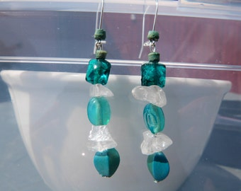 Blue Crystal Earrings Made From Recycled Materials