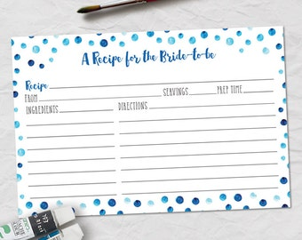 "Printable Blue Watercolor Polka Dot Recipe Card, Bridal Wedding Shower, 6""x4"" JPG Instant Download"