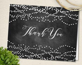 Printable Chalkboard String Lights Thank You Greeting Card - Black; JPG Instant Download