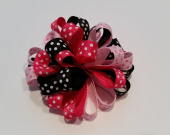 Pink and Black Loopy Pom Pom hair bow