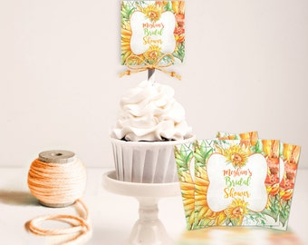 Sunflower Cupcake Toppers Party Favor Tags Squares | Yellow Orange Green Flowers | Editable PDF Digital Instant Download