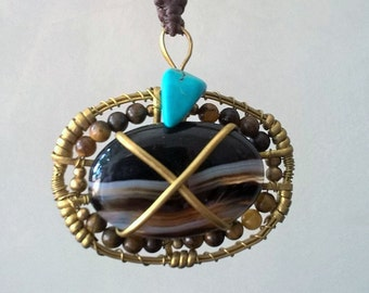 Limited Handmade Black Agate Necklace with Turquoise and Tigers Eye beads - Necklace - Agate Necklace – Gemstone Necklace - Healing Necklace