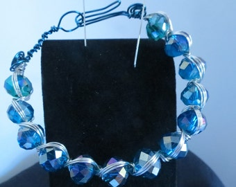 Wire Weave Blue/Green & Purple iridescent Bracelet