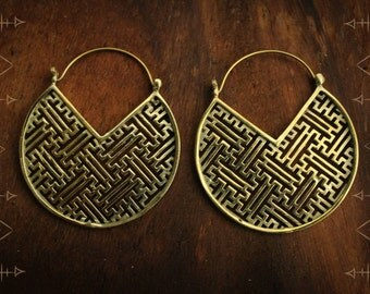 Brass, Ethnic, Gypsy, Tribal hoop earrings