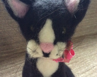 Black and White Cat, Fibre Art , Gift Ideas, Collectable Needle Felted Cat