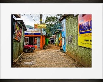 alley print Sri Lankan photo, Sri Lanka photography, alleyway, Asia, fine art, wall art, home decor, HDR, signs dirt backstreets