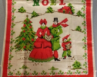 Vintage Christmas TEA TOWEL, Noel Tea Towel, 1950's Tea Towel, Christmas Decor, Vintage Kitchen decor, Holiday Tea Towels