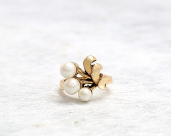 Gold Pearl Ring | Antique Ring | Yellow Gold Ring | Statement Ring | Antique Jewelry | Antique Jewellery | Flower Pearl Ring | Cocktail Ring