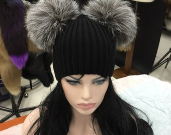 Kylie Jenner Beanie hat with 2 natural silver fox fur bobbles/pompoms