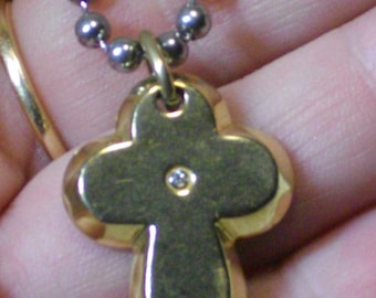 SIMMONS 18k Gold Over Stainless Steel Cross Pendant w Diamond Accent Necklace