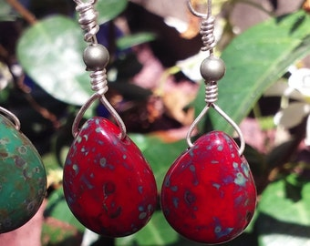 Czech Glass Picasso Red Patina