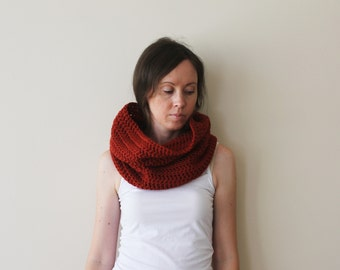SALE! Red Chunky Cowl Neckwarmer-Red Crochet Cowl-Loop Scarf-Crochet Hood-Ready To Ship