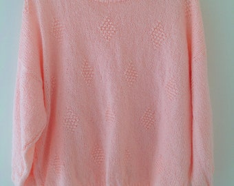 Vintage hand knitted peach jumper, ladies sweater, apricot shimmer knit jumper