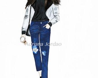 Fashion Print / Girly Wall Art / Dressing Room Art / Gift For Her / Fashion Marker Art/ Home Decor