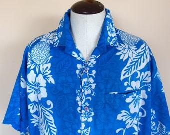 Vintage 1980's  Blue Authentic Rima Beach Shirt Hawaiian Terivoile