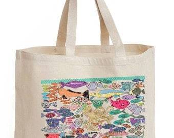 Fish shopping bag, this shopper or tote, something fishy, strong bag, cotton canvas bag. gift, save the world one recycled bag at a time