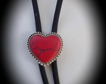Women's bolo, red stone heart