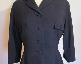1950s navy blue wool button front 3/4 sleeve blazer Saks Fifth Ave M