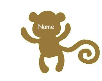 10 Pack Monkey Decals, Teacher Decor, School, Student Name Tags, Classroom Decor, Name Labels