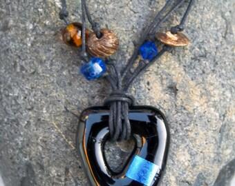 DICHROIC GLASS PENDANT Stylish Blue Bead Necklace - Handmade Designer Glass Jewellery, Gift, For Her, Anniversary