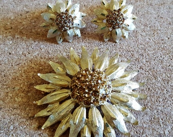 Vintage Gold and Topaz Crystal Sunflower Brooch with Clip On Earrings