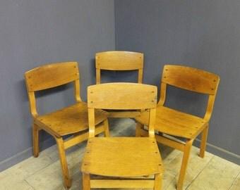 Vintage School Chairs x 4 Cafe, Bar, Retro