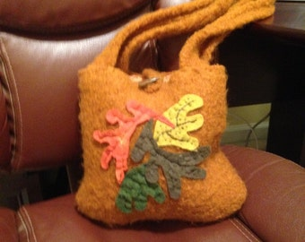 Gold Felted Wool Shoulder Bag with Fall Orange, Green and Yellow Leaves with Toggle Closure