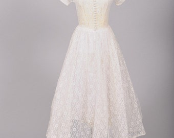 1950 Sheer Tea Length Wedding Dress