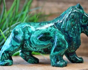Malachite Crystal Lion Sculpture - Stone Animal Figurine- 1220.53