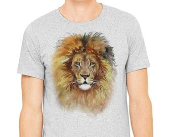 Lion's t-shirt, Gray T-shirt, Men's t-shirt, watercolor painting of a lion printed on athletic gray t-shirt