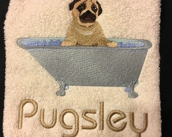 Pug in the Tub