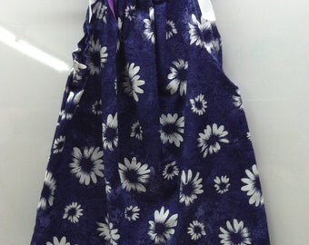 Purple/White Daisy Dress/Solid White Trim- Available in SMALL Size ONLY