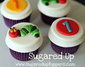 Caterpillar Fondant Cupcake Toppers