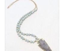 Aqua Beaded Arrowhead Necklace
