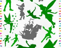 Peter Pan svg - Peter Pan digital download - Cutting Files for Electronic Cutting Machines - dxf eps svg png jpg - Captian Hook - Tinkerbell