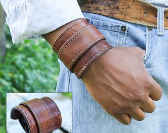 Men's Distressed Wide Leather Cuff Bracelet