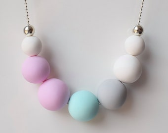 Pink Chunky necklace, Mint Statement necklace, Ball necklace, Pastel jewelry, Pastel Beaded necklace, Polymer Clay jewelry, White jewelry