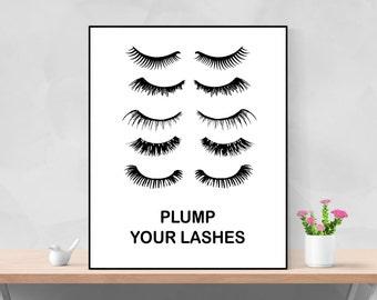 Eyelash Poster Lash Print Lash Printable Eyelash Wall Art Mascara Poster Plump Your Lashes Lash Print Eyelash Glam Poster Makeup Print