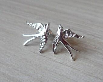 Silver Stud Bird Earrings, Bird Earrings, Bird Jewellery, Delicate Earrings, Swallow Earrings, Modern Jewelry, Dove Studs, Everyday Jewelry
