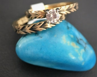 Vintage 14kt Blackened Yellow Gold Engagement Ring and Wedding Band