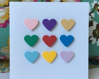 Handmade Colorful Multi Love Heart Greeting Card