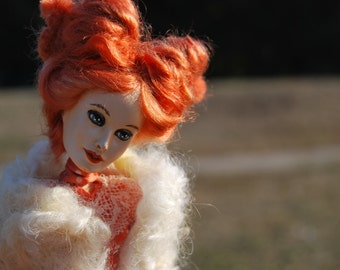 OOAK doll, handmade doll, collectible doll, paper clay doll, Stubborn doll