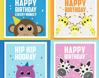 Pack of 4 Children's Birthday Cards - Animal Zoo Theme