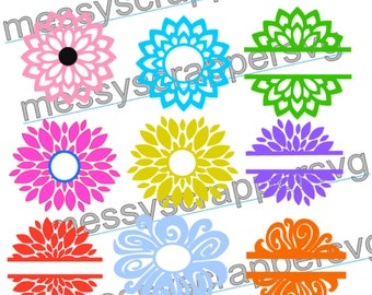 Floral monograms or split digital files!  There are 9 different pictures!(svg,vinyl designs,silhouette cameo files,cricut explore files)