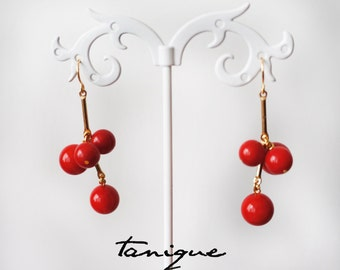 Coral earrings gold plated 18k