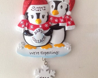 Personalized Christmas Ornament Pregnant Penguins  Couple,Expecting Parents Mom to be, Dad to be, Pregnancy announcement