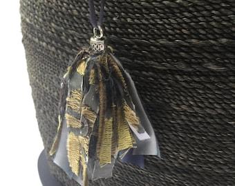 Satin & Damask Tassel Necklace, Tassel Necklace, Fabric Tassel Necklace
