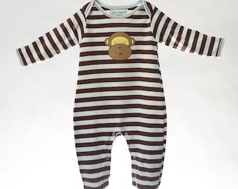 Baby Boys Pima Cotton Footie Light Blue & Brown Stripes, Baby Boys Pajamas, Footie Pajamas