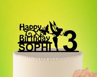 Fairy Birthday Cake Topper, Fairy Princess Cake Topper, Tinkerbell Cake Topper, Birthday Party Decor, Kids Birthday, Fairy Party L2-01-022