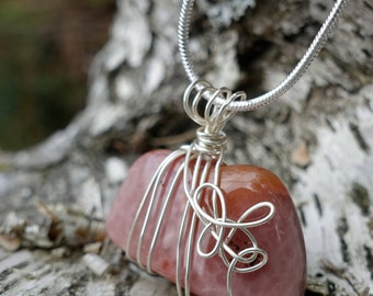 Agate Gemstone Silver Wire Wrapped Pendant Necklace, Mother Earth Minimalist Boho Jewelry, Unique One of a Kind Gift, Birthday, Woman's Gift